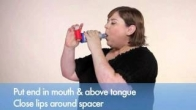 How to use a metered dose asthma inhaler with a spacer or valved holding chamber.