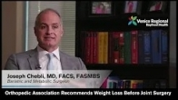 Orthopedic Association Recommends Weight Loss Before Joint Surgery - Dr. Joseph Chebli